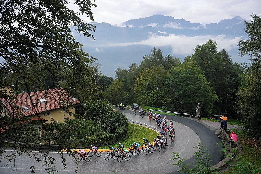 Cycling: 107th Tour of Lombardie 2013 Illustration Illustratie / Peleton Peloton / MADONNA DEL GHISALLO (754m)/ Landscape Paysage Landschap / Bergamo - Lecco (242Km)/ Ronde Lombardia /(c)Tim De Waele (Photo by Tim de Waele/Corbis via Getty Images)